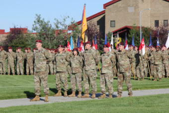 Soldiers with the Army's 4th Brigade Combat Team (Airborne) 25th Infantry Division at a deployment ceremony Sept. 8th, 2017, at Joint Base Elmendorf-Richardson. (Photo by Zachariah Hughes/Alaska Public Media)