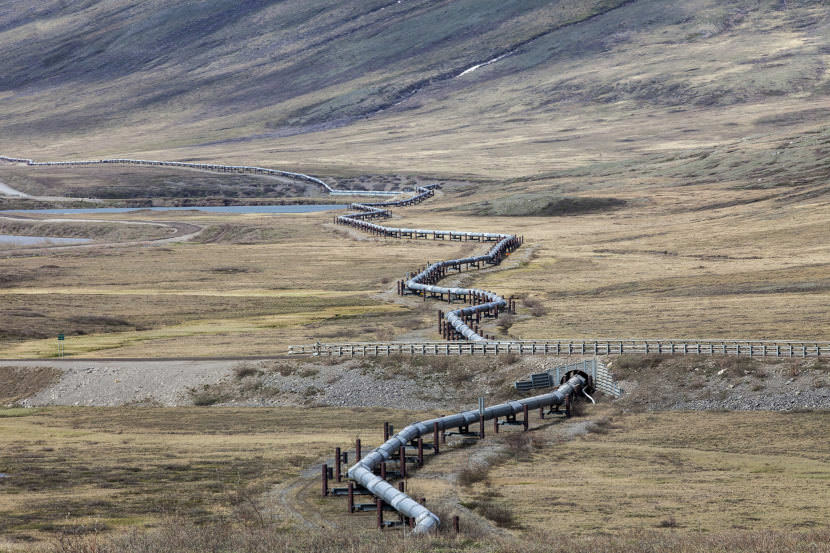 An above-ground section of the Trans-Alaska Pipeline System near the Toolik Lake Research Station in the North Slope Borough. (Photo by Rashah McChesney/Alaska's Energy Desk)