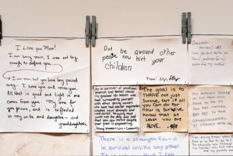 "In ""Hope Quilt,"" an art installation that toured Bethel last month, Alaskan artist Carmel Anderson displays anonymous stories from abuse survivors throughout the state. Alaska's sexual assault rates are high, and Alaska Native females are more likely to be attacked than anyone else. (Photo courtesy Carmel Anderson)"