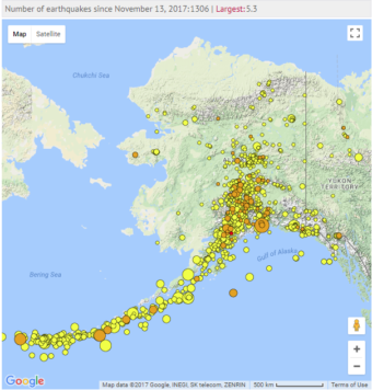 Earthquakes recorded in Alaska over the past two weeks. (Photo by Alaska Earthquake Center)