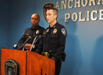 Anchorage Police Chief Justin Doll addressing reporters at a press conference on Thursday, Nov. 16, 2017, the morning after an officer-involved shooting (Photo by Zachariah Hughes/Alaska Public Media)