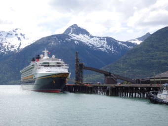 A cruise ship moored at Skagway's ore dock. (Photo by Emily Files/KHNS)