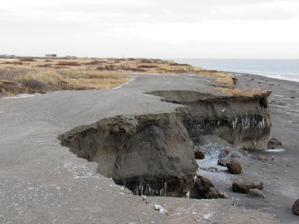 Port Heiden's road to the safe harbor and old village was closed in November due to erosion. Photo taken November 22, 2017. (Photo courtesy Chasen Cunitz)