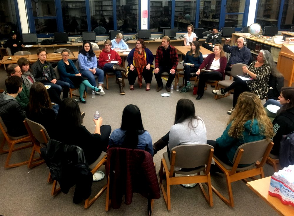 Prior to Monday night's (12-4-17) session on school counseling, members of the Sitka High student government met with board members. The students agreed to continue advocating for school funding in the legislature. But they also had a request of their own: Water fountains that can fill bottles. (Photo by Robert Woolsey/KCAW)