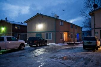 Police say a 5-year-old child died of a self-inflicted gunshot in a multi-unit residential complex on the 5700 block of Rocky Mountain Court in East Anchorage. (Photo by Marc Lester/Anchorage Dispatch News)