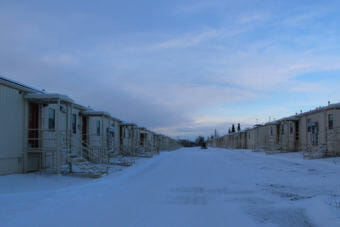 The temporary barracks housed soldiers at JBEr for about a decade. Now they may go to Newtok. (Photo by Rachel Waldholz/Alaska's Energy Desk)