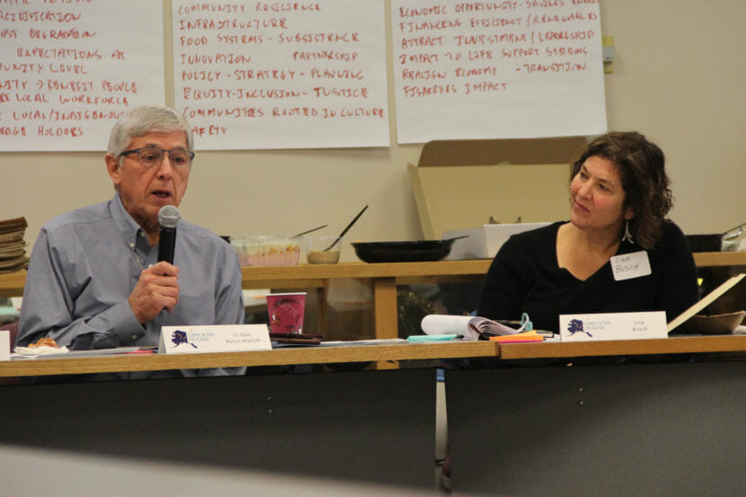 Lt. Gov. Byron Mallott chaired the inaugural meeting of Gov. Bill Walker's climate change task force on Monday, Dec. 18, 2017. Lisa Busch of the Sitka Sound Science Center is one of 20 people chosen for the commission. (Photo by Rachel Waldholz/Alaska's Energy Desk)