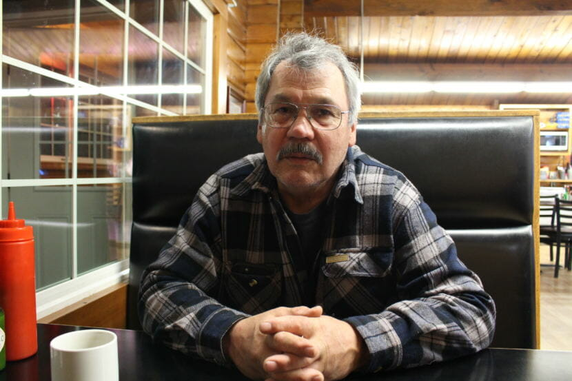 Mike Douville in a diner in Craig. Douville serves on the regional advisory council that makes recs to federal subsistence board. (Photo by Elizabeth Jenkins/Alaska's Energy Desk) 12/18/17