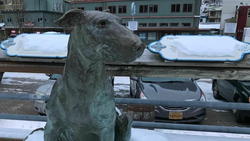 The statue of Patsy Ann, once named Juneau's official greeter, watches the downtown waterfront in December 2017. The Friends of Patsy Ann commissioned the famous bull terrier's statue, which was presented in July 1992. (Photo by Julia Caulfield/KTOO)