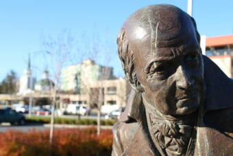 Alexander Baranov was the first general manager of the Russian-American Company, and the statue of him was erected to honor the role of commerce in Sitka's past. (Photo by Katherine Rose/KCAW)