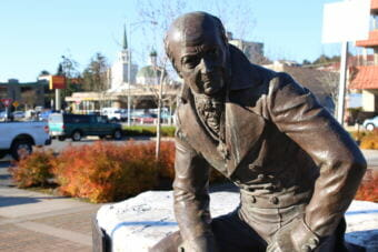 Alexander Baranov was the first general manager of the Russian-American Company, and the statue of him was erected to honor the role of commerce in Sitka's past. (Photo by Katherine Rose/KCAW0