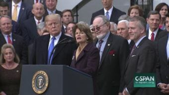 Alaska's congressional delegation joined President Donald Trump after the vote. (Video still courtesy C-SPAN)