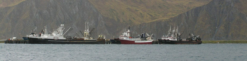 Fishing vessels tie up at the Spit Dock in Unalaska in 2006.