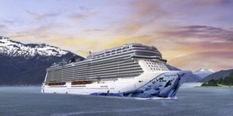 The Norwegian Bliss, shown in a promotional image, will begin sailing Alaska waters in about six months. It's one of two megaships slated to sail the Inside Passage. (Image courtesy Norwegian Cruise Line)