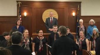 "Juneau-Douglas High School Choir and Alaska Youth Choir sing ""Alaska's Flag"" at the opening of second session of the 30th Alaska Legislature on Jan. 16, 2018."