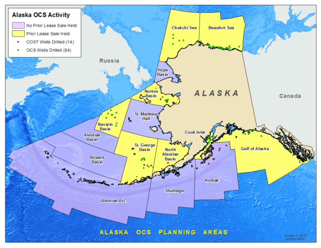 Map showing previous offshore wells drilled in Alaska