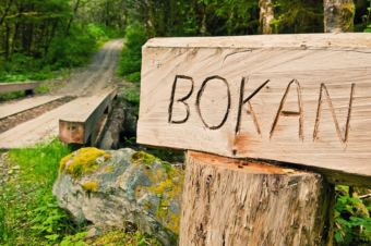 A sign marks a trail up Bokan Mountain on Prince of Wales Island.