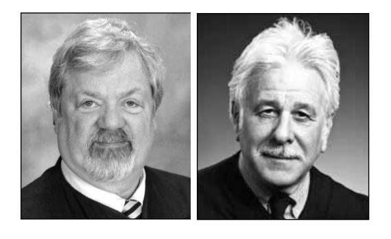 Juneau District Court Judge Thomas Nave and Juneau Superior Court Judge Louis Menendez. (Photos courtesy of Alaska Division of Elections)