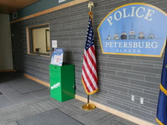 The drug take-back bin is in the lobby of the newly remodeled police station. (Photo by Joe Viechnicki/KFSK)
