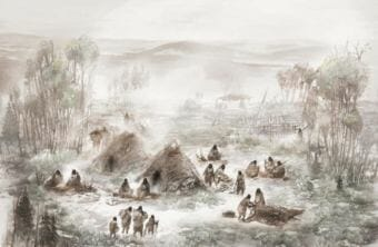 The infant from whom researchers extracted genomic material was buried, along with another infant and young child, in the structure shown in the foreground of this reconstruction of the Upward Sun River residential camp by Eric S. Carlson in collaboration with Ben Potter. (Courtesy Eric Carlson/Ben Potter)