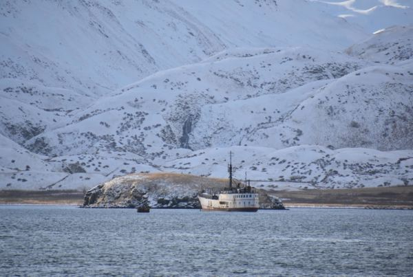 The F/V Akutan has been moored in Unalaska's Captains Bay since August. (Photo by Zoe Sobel/KUCB)