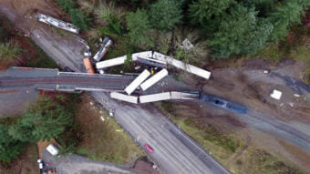 Amtrak Cascades Train 501 was going more than twice the posted speed limit when it derailed at a sharp turn near DuPont, Washington, on December 18, 2107. (Photo courtesy Washington State Patrol)
