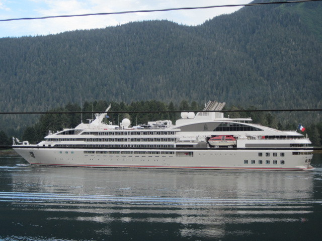 The cruise ship Le Soléal heads south in the Wrangell Narrows near Petersburg in June 2016. (Photo by Joe Viechnicki/KFSK)