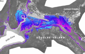 A 2017 map compiled by the City & Borough of Juneau shows the maximum expected inundation for an offshore tsunami caused by an earthquake. (Courtesy City and Borough of Juneau)