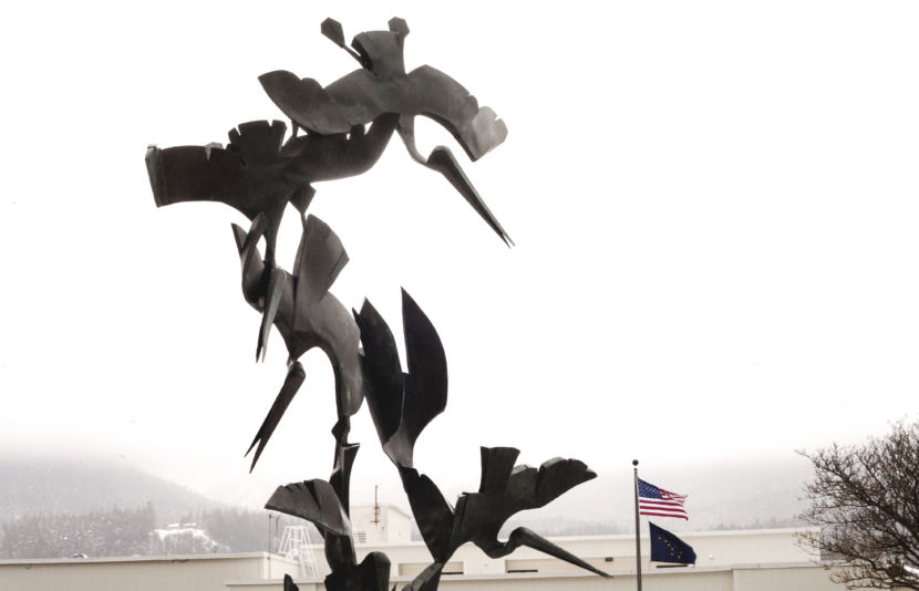 A statue at the Federal Building in Juneau resembles pelicans. (Photo by Tripp J Crouse/KTOO)