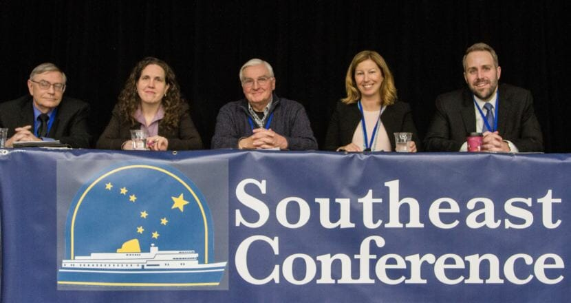 A panel of industry leaders discusses timber, mining and other topics during the Southeast Conference Mid Session Summit Feb. 13 in Juneau. (Photo by Heather Holt)