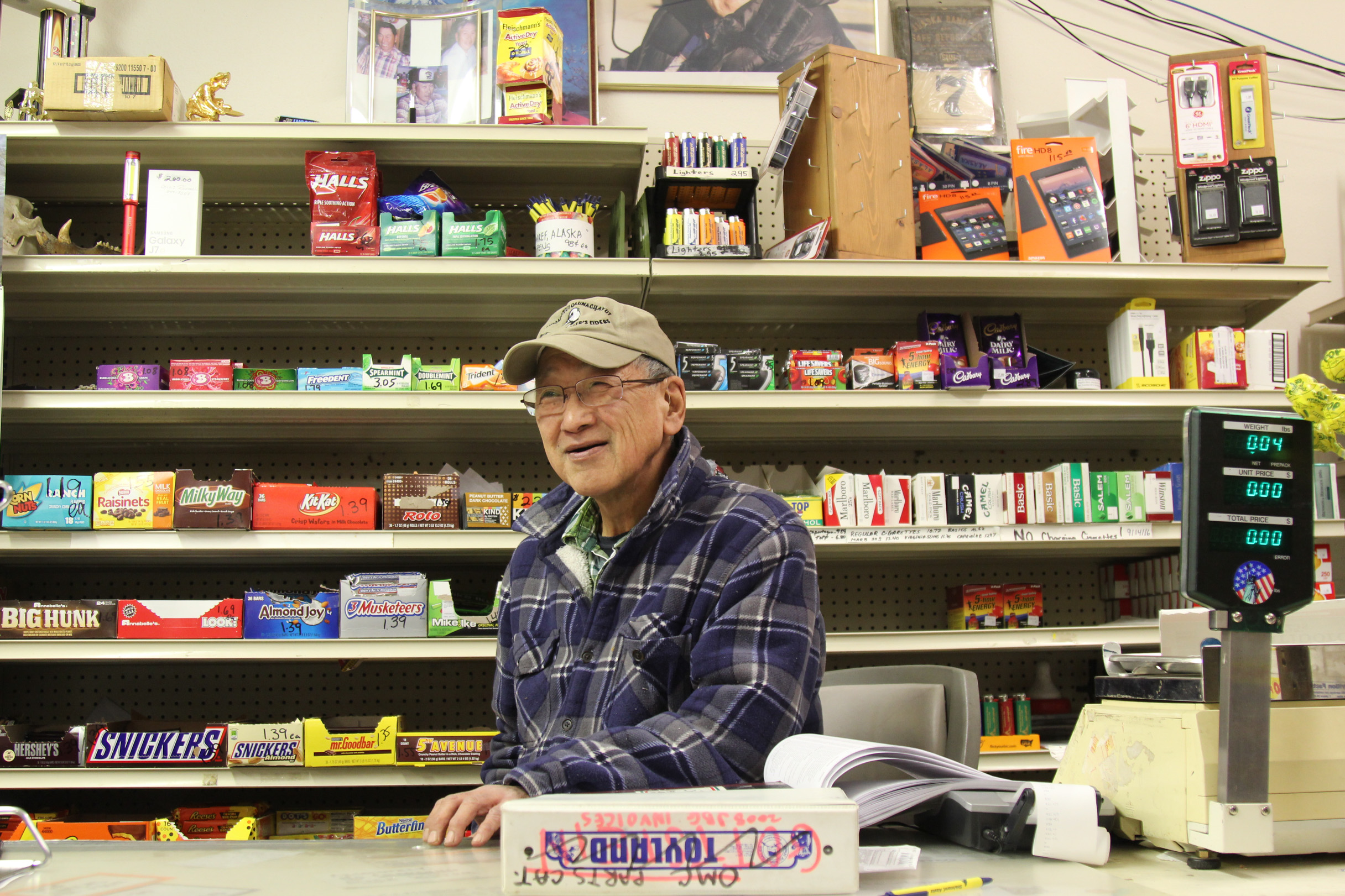 Percy Nayukpuk has run his store in Shishmaref since 1990, when it took it over from his father. (Photo by Zachariah Hughes/Alaska Public Media)