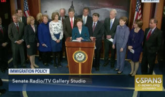 Sen. Lisa Murkowski has been hashing out an immigration bill with senators of both parties. (Video still courtesy C-SPAN)