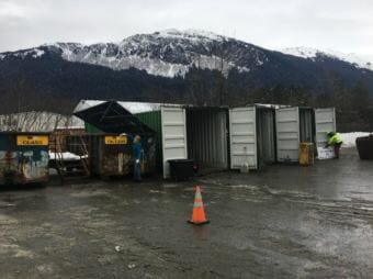 The city's temporary drop-off recycling area in Lemon Creek. (Photo courtesy City and Borough of Juneau)