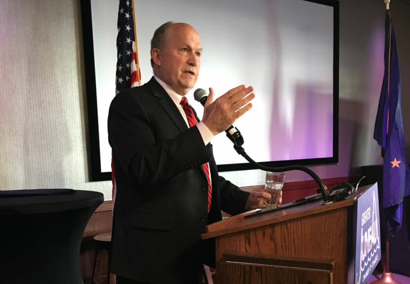 Gov. Bill Walker speaks to the Juneau Chamber of Commerce, Feb. 8, 2018. He said more Alaska Permanent Fund investment jobs should be in Juneau. (Photo by Andrew Kitchenman/KTOO)