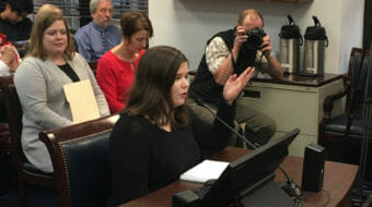 Stella Tallmon, a sophomore at Juneau-Douglas High School, testifies before the Alaska House Judiciary Committee on Feb. 28, 2018. Rep. Geran Tarr, D-Anchorage, is on the left. Tarr sponsored a bill allowing judges to issue protective orders removing guns from people judged likely to be a threat to themselves or others.