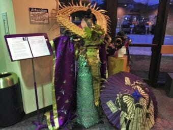 "Beth Bolander's ""Doragon"" on display in the lobby of Centennial Hall on Sunday, Feb. 19, 2018. (Photo by Adelyn Baxter/KTOO)"