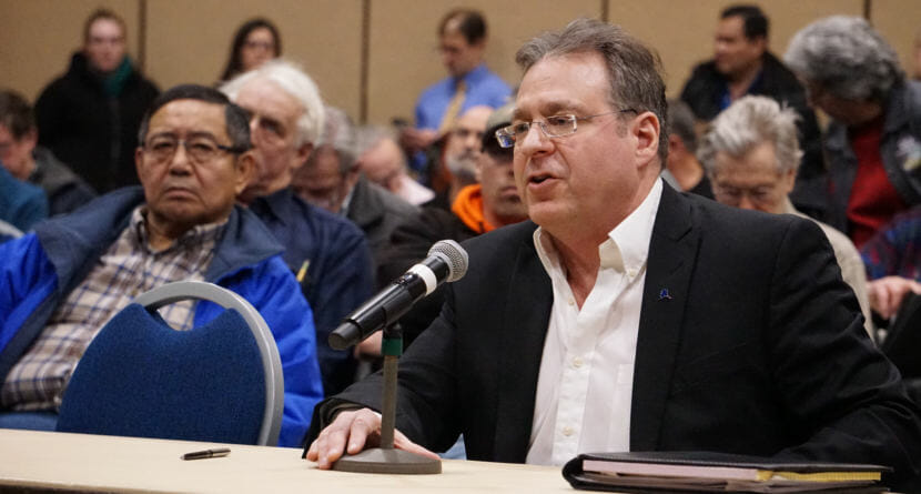 Independent hydropower entrepreneur Duff Mitchell participates in public comment at a Regulatory Commission of Alaska meeting at Centennial Hall in Juneau on Tuesday, Feb. 27, 2018. Mitchell is the managing director of Juneau Hydropower Inc.