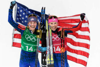 The Olympic gold for Randall and Diggins ends a 46-year drought for the American women, who had never medaled before at the winter games. (Photo courtesy APU)