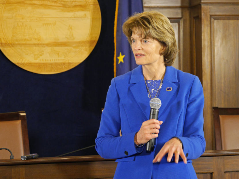 U.S. Sen. Lisa Murkowski, R-Alaska, talks with Alaska Capitol reporters during a press availability following her annual address to the Alaska Legislature on Feb. 22, 2018. (Photo by Skip Gray/360 North)