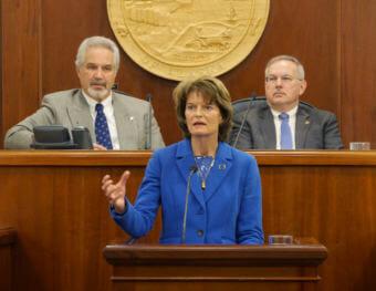 U.S. Sen. Lisa Murkowski, R-Alaska, speaks to a joint session of the Alaska Legislature on Feb. 22, 2018. Behind her are Senate President Pete Kelly, left, and House Speaker Bryce Edgmon. (Photo by Skip Gray/360 North)