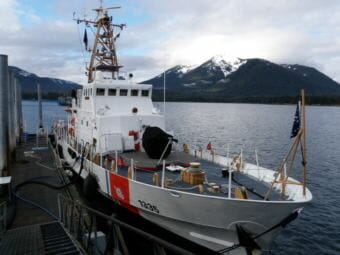The 110-foot island class cutter Anacapa docks near Petersburg's South Harbor and the state ferry terminal. (File photo by KFSK)