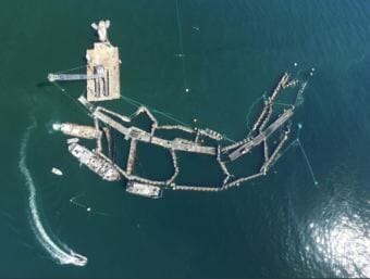 Cooke Aquaculture's ruined Atlantic salmon farm off Cypress Island on Aug. 28. (Photo courtesy Washington Department of Natural Resources)
