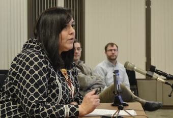 Andrea Gusty, Vice President of Corporate Affairs for The Kuskokwim Corporation, testifies in support of Donlin's waste and wastewater draft permits in Anchorage on January 26, 2018. (Photo by Victoria Petersen/APRN)