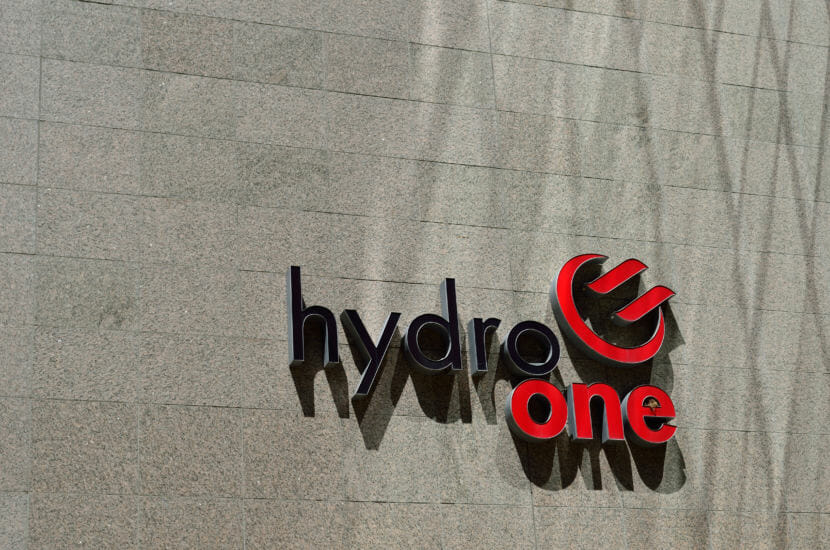 Hydro One's logo on a tower at its headquarters in Toronto on May 20, 2015. Hydro One says it's Canada's largest electricity transmission and distribution service provider.