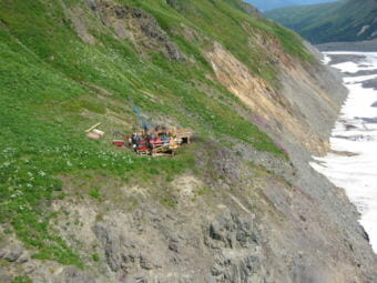 A drill site at the Palmer Project north of Haines. (Photo courtesy of Constantine Metal Resources)