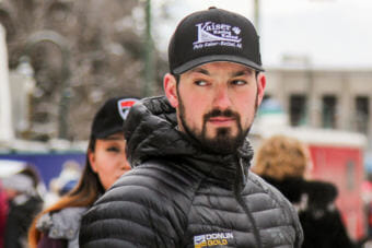 Pete Kaiser at the ceremonial start of the 2018 Iditarod in Anchorage. (Photo by Zachariah Hughes/Alaska Public Media)