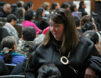 Tara Sweeney at the annual Alaska Federation of Natives convention in October 2017. Her nomination to be assistant interior secretary for Indian affairs has been held up for months.