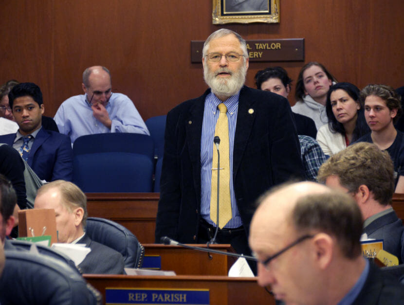 Rep. Paul Seaton, R-Homer, during the hours-long deliberations on HB 111, an oil tax bill, April 10 , 2017. (Photo by Skip Gray/360 North)