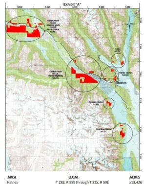 This map shows 13,426 acres of land scattered throughout the Haines Borough that the University of Alaska owns and is negotiating a timber sale of.
