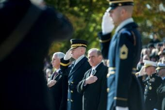 Federal officials render honors during a wreath laying ceremony at the Tomb of the Unknown Soldier at Arlington National Cemetery, Arlington, Virginia on Nov. 11, 2017. From left: Vice President Mike Pence; Maj. Gen. Michael Howard, commanding general, U.S. Army Military District of Washington; and David J. Shulkin, Veterans Affairs secretary.